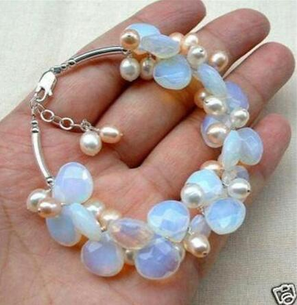 women good Blue Fire Opal and Fresh Water Pearl Cluster Bracelet real Natural gem stone 925 silver Ladies Jewelry