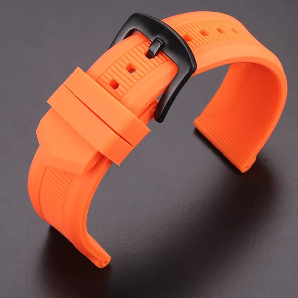 Rubber Watchband 22mm Men Black Orange Sport Diving Silicone Watch Band Strap Bracelet Stainless Steel Metal Pin Buckle