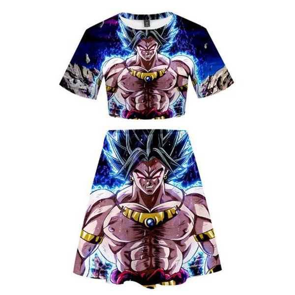 Two Pieces Sets Dragon Ball Super Broly 3D Printed Women Summer Short Sleeve Crop Tops+Skirts Hot Sale Popular Girls Casual Wear