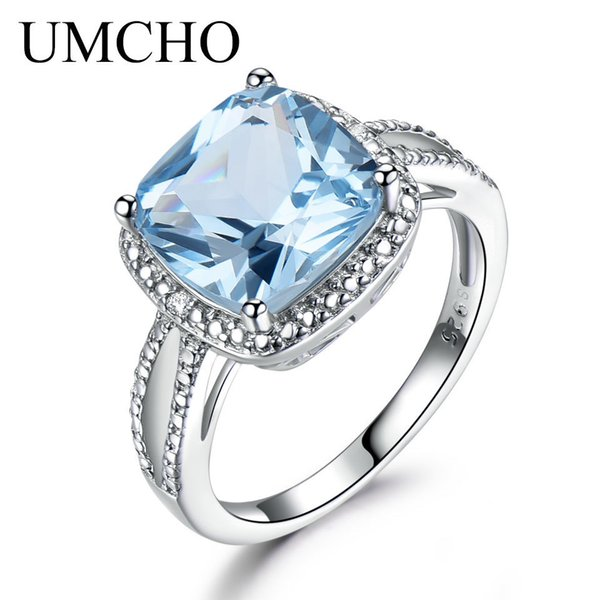 Umcho Real 925 Sterling Silver Rings For Women Gemstone Aquamarine Sky Blue Topaz Ring Cushion Romantic Gift Engagement Jewelry