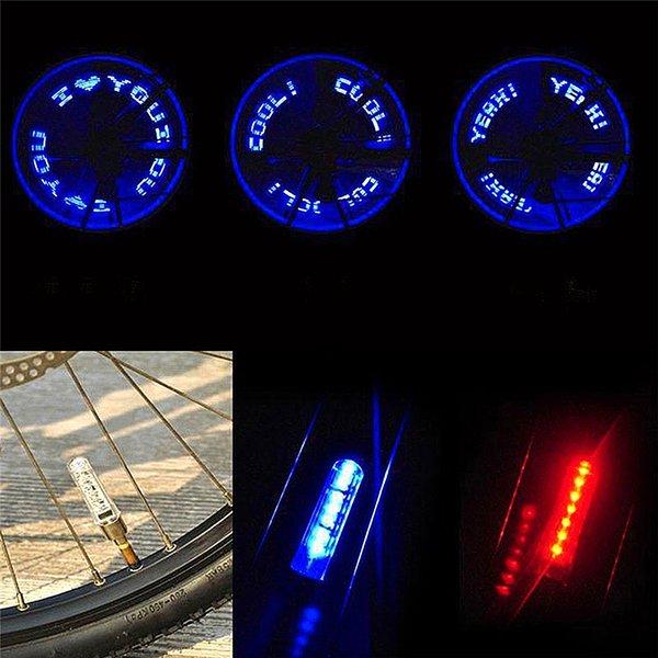 1 pc Vélo Lumière Lampe À Gaz Double-détection Double-Face VTT Vélo 7 Lettres LED Buse Lampe Vélo Vélo Équipement D'équitation