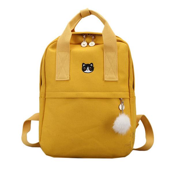 Zaino Donne New sveglio zaino della tela di canapa di moda per la scuola adolescenti Ragazze Big Giallo Capacità di viaggio sacchetto femminile Bookbag Mochila