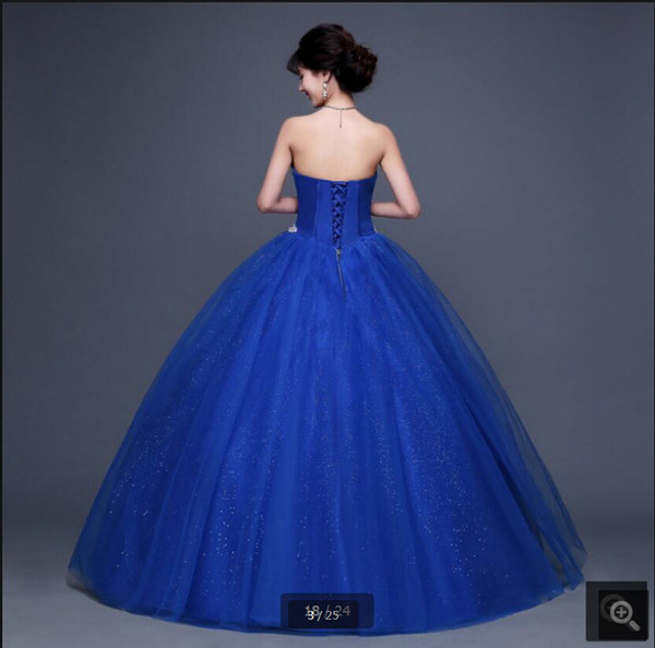 New arrival royal blue ball gown heavily crystals prom dress strapless princess puffy sweetheart neck prom dresses hot sale 2019
