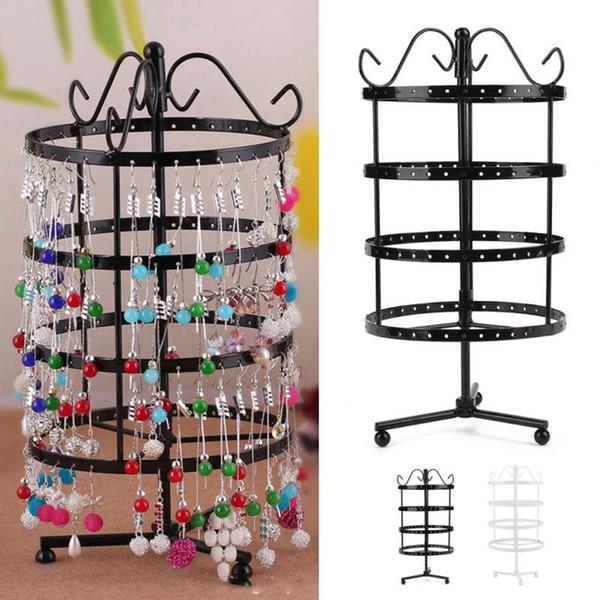 144 Holes Metal Earrings Organizer Rotating Pedestal Jewelry Display Necklace Display Rack Earring Storage Tree Jewelry Holder