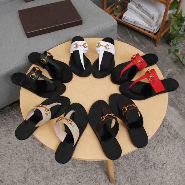 Été Marque Designer Femmes Tongs Slipper De Luxe De Mode Véritable Diapositives En Cuir Sandales Chaîne En Métal Dames Casual Chaussures EU36-EU42