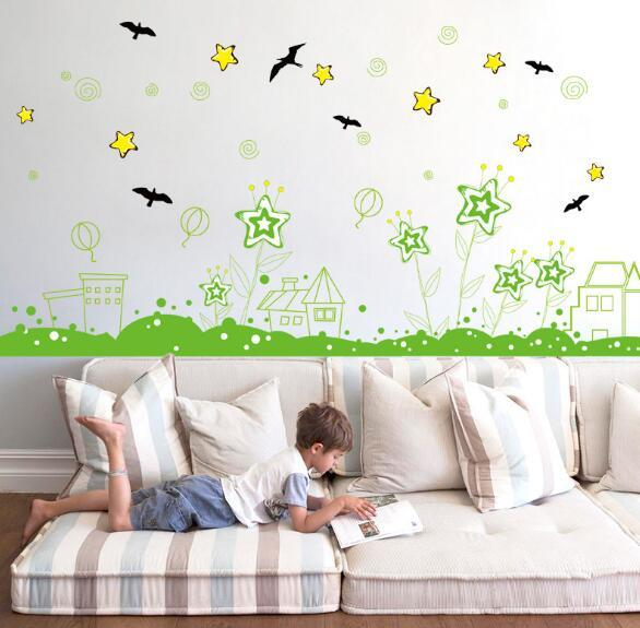 Five-star garden baseboard Living room porch background decorative wall stickers creative fashion home popular wild