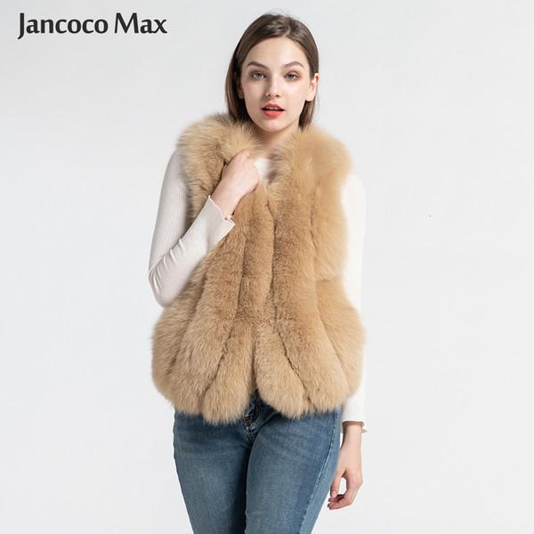 2019 nuevo estilo de las mujeres reales de piel de zorro Chalecos de la manera del invierno chaleco de piel de alta calidad mullido natural chaleco de la piel S7582 T191113