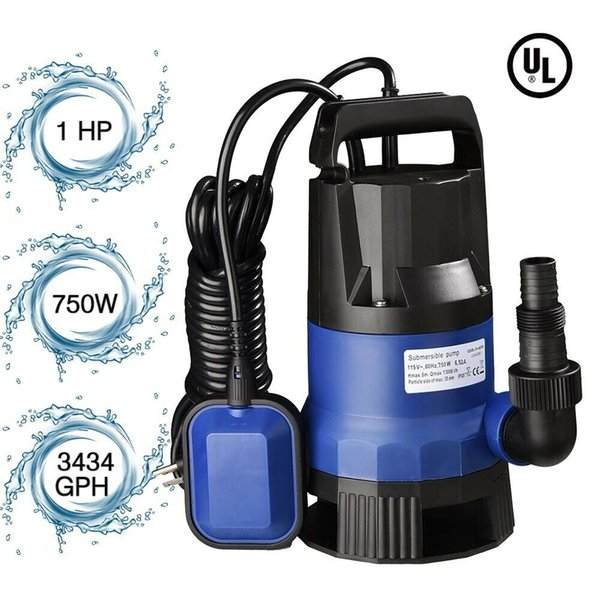 top popular 1HP 3432GPH 750W Submersible Water Sump Pump Dirty Clean Swim Pool Pond Flood 2021