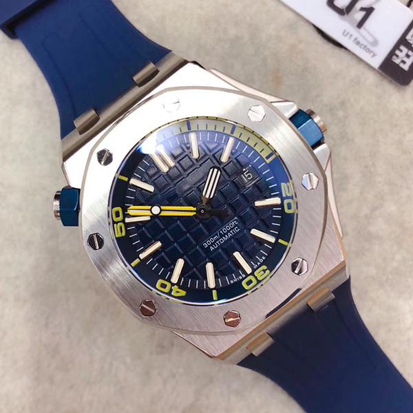 Venta caliente U1 Fábrica de Roble Offshore Diver 42mm Movimiento Automático 15710 Series Cinturón de Goma Para Hombre Azul Dial Deportes Cristal Volver Relojes