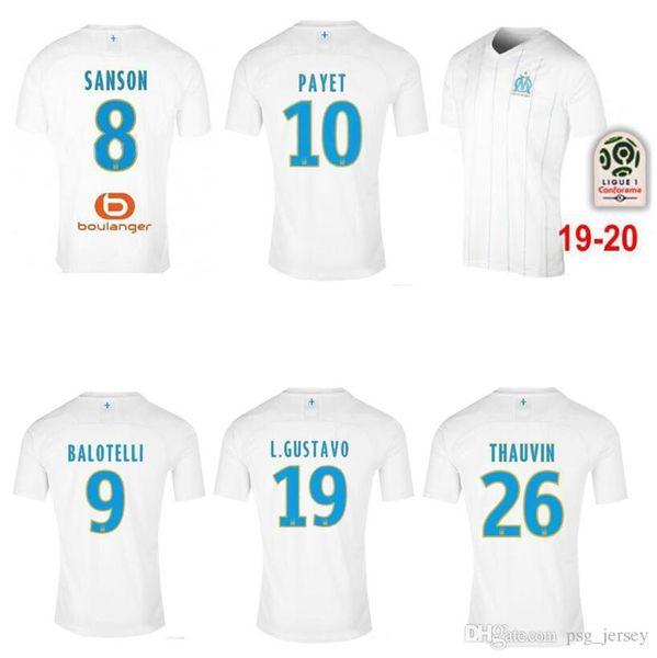 19 20 Top Thaïlande S-3XL maillot de l'Olympique de Marseille à domicile maillots de football OM Marseille maillots de football CABELLA PAYET maillots de football fotbul