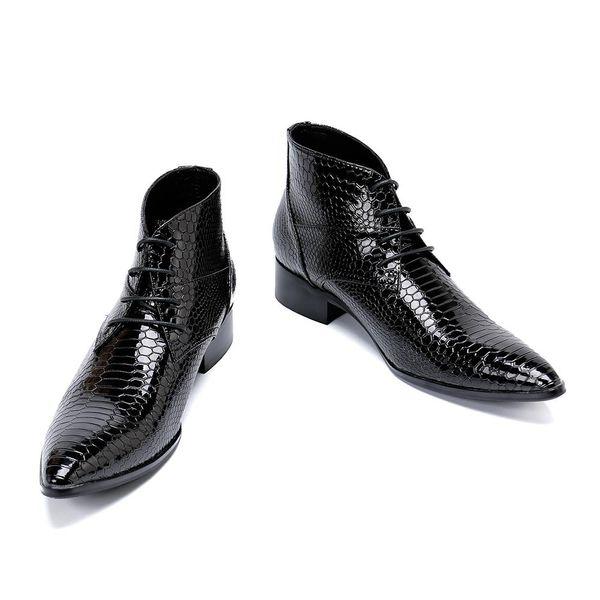 Kış Moda Erkekler Çizmeler Hakiki Deri Ayak Bileği Çizmeler Artı Boyutu Erkekler Dantel-Up Bullock erkek paty balo ayakkab ...
