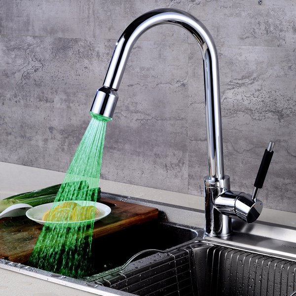 2019 LED Kitchen Faucet Pull Type Rotating Sink Sink Hot And Cold Water  Faucet Cross Border Direct Sales From Aurorl, $143.42 | DHgate.Com