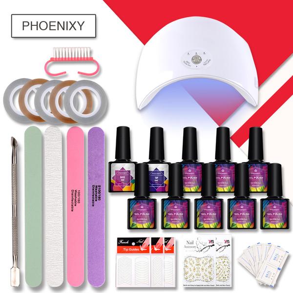 Completa Gel prego Kit Com 36w LED Lamp Decoração Art Multi-cores 8ml prego jogo do polonês All For Manicure Art Acessórios