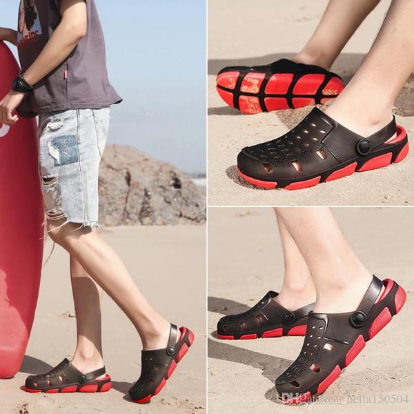 good quality designer sandals Jelly Sandals Men Beach Slippers Male Light Weight Summer Eva Garden Shoes Breathable Hole Mens flip-flops