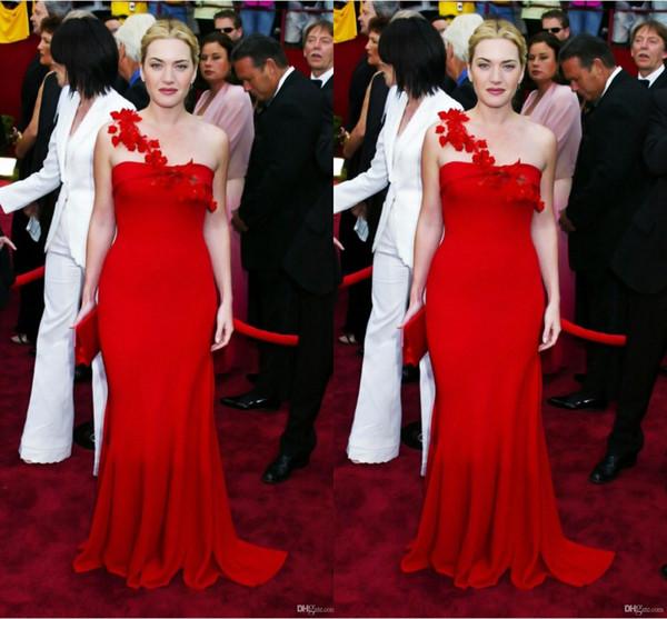 Şık Kırmızı Bir Omuz Denizkızı Gelinlik Modelleri El Çiçek Kat Uzunluk Formal Elbise Ünlü Red Carpet Elbise de soirée elbiseler