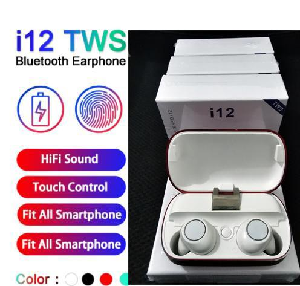 I12 توس بلوتوث 5.0 سماعات بلوتوث لاسلكية تدعم سماعات التحكم باللمس الملونة سماعات الأذن سماعات رأس لاسلكية