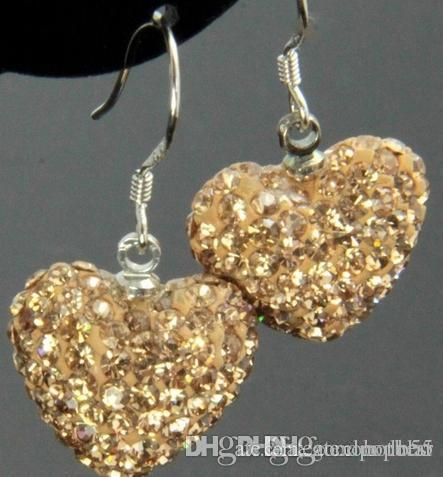 high quality hotsale y353 Rhinestone Mix Colors white disco Ball beads clay heart drop Dangle crystall Crystal Earrings Stud x634 w62 e23