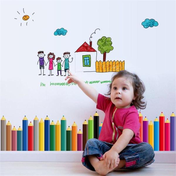 Cabeça cartoon lápis rodapé decoração pintura sofá gabinete fundo linha infantil pintura adesivo à prova d'água