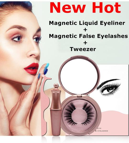 3D Vizon Kirpik Cımbız Seti ile Manyetik Sıvı Eyeliner Manyetik Kirpik Yanlış Kirpik Uzatma Su Geçirmez Vizon Lashes Makyaj Maquiagem
