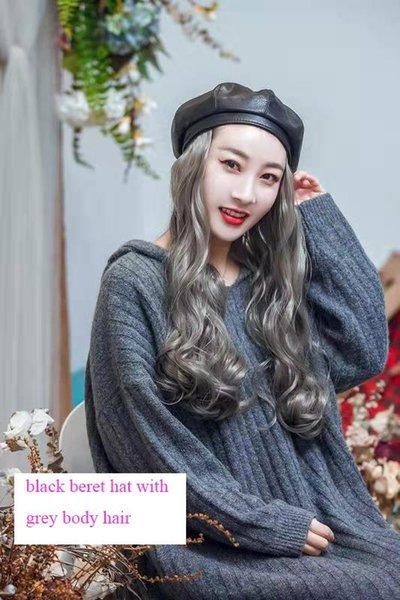 berretto nero con i capelli corpo grigio