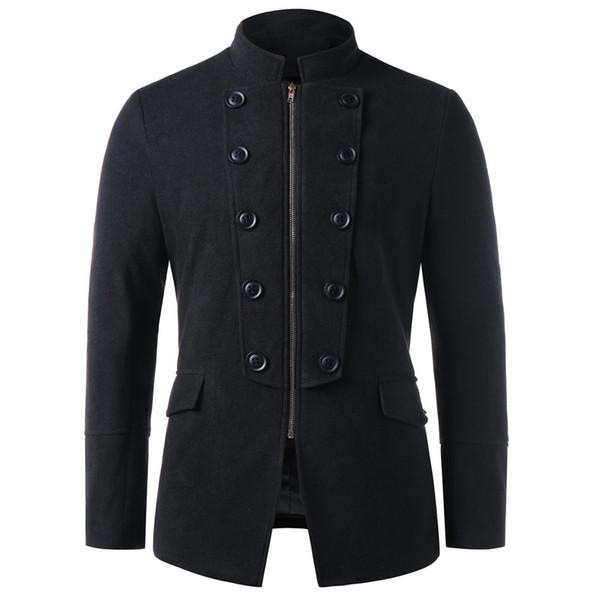Fashion Men Winter Double Breasted Zipper Jacket Knit Cardigan Long Sleeve Coat Men Warm Winter Wool Coat Erkek Cocuk Mont 5