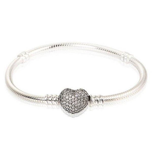 Authentic 925 Sterling Silver Charm Bangles Pave Clear Crystal Heart Clasp Clip Stamped Brand European Style Charm Bracelet Bead Jewelry DIY