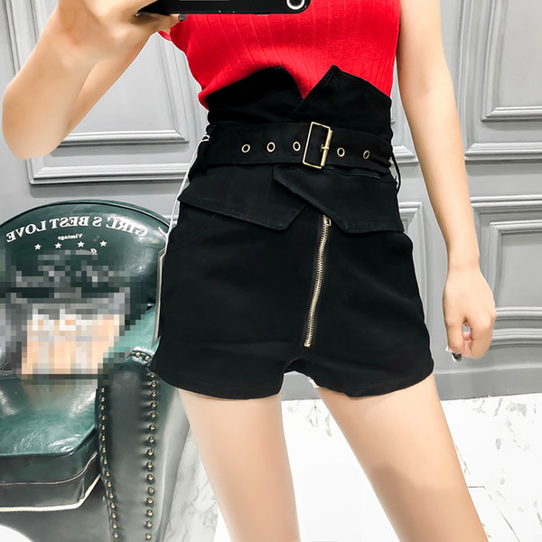 Shorts Pencil Pants Lace Softener Washed Zippers Button Sequined Drawstring Cotton Jeans Woman High Waist Softener Loose