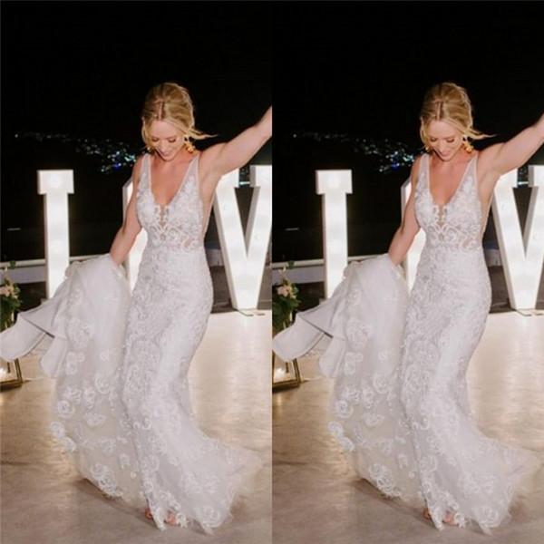 2020 белые V-образным вырезом аппликации кружева русалка свадебные платья с развертки тюль свадебное платье Vestios De Novia
