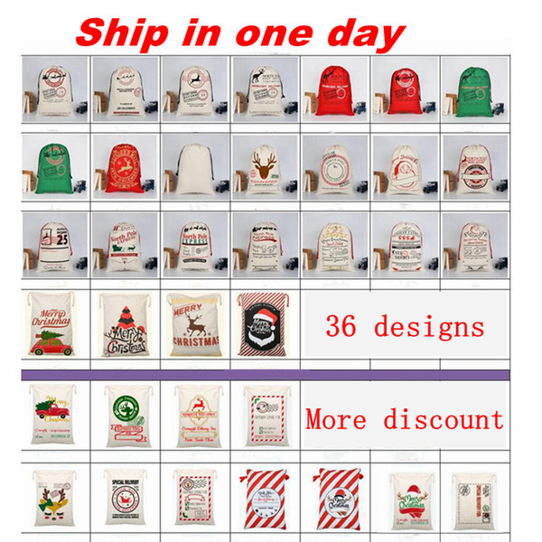 best selling Christmas gift bags santa sacks large canvas bag drawstring bag with reindeers 32 colors for kids accept mixed wholesale and free shipping