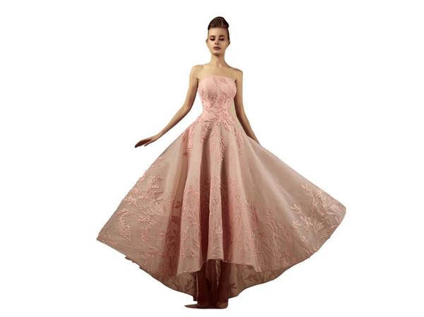 Vestidos de fiesta de color rosa Sin tirantes Una línea Alta Baja Apliques Sin mangas Vestido de ocasión formal Vestidos de noche de talla grande