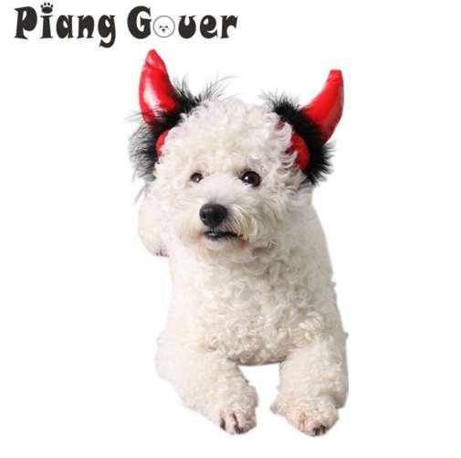 Red Halloween Ox Horn Cat Cap Vampire Little Devil Horn Hat Small Dogs Pet Cosplay Headwear Teddy Hat