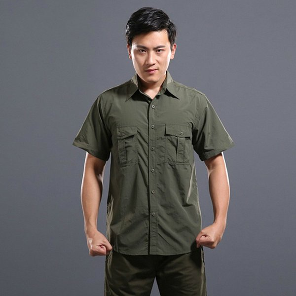Summer Quick Dry Tactical Short Sleeve Shirts Men Breathable Lightweight Cargo Shirt Casual Loose Army Shirts