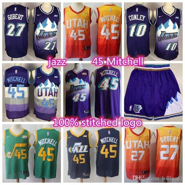 best selling 2019 New Men's Utahs Donovan 45 Mitchell Jazzess jersey 10 Conley 27 Gobert stitched shorts basketball jersey