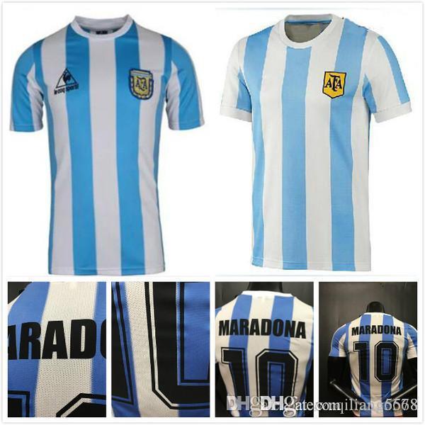 best selling best quality in stock 1978 1986 Argentina Maradona home Soccer jersey Retro Version 86 78 Maradona CANIGGIA Quality Football Shirt Batistuta