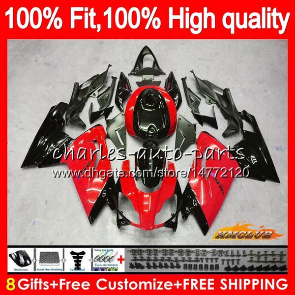 Pour injection noir Aprilia RS4 rouge RSV125 RS125R 2006 2007 2008 2009 2010 2011 69HC.123 RS 125 RS125 RS125 06 07 08 09 10 11 OEM Carénage