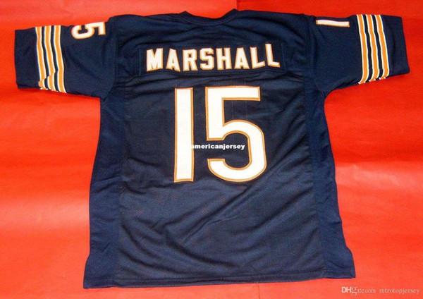 Cheap retro #15 BRANDON MARSHALL CUSTOM MITCHELL & NESS Jersey bule Mens Stitching Top S-5XL,6XL Football Jerseys Running