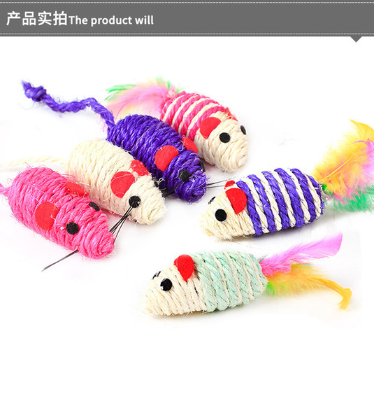 top popular Mice Cat Toys Cute Fun Sisal Mouse Cat Toy Cat Chew Interactive Toys Pet Rope Mouse Toy Playing Toy Kitten Teaser Toys 2021