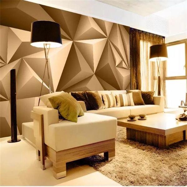 Papel tapiz fotográfico personalizado 3D Mural de pared Estéreo Espacio abstracto Geometría dorada Mural Arte moderno Sala de estar creativa Estudio del hotel Papel de pared 3D