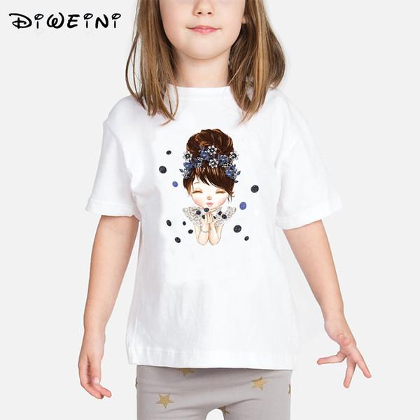 Bebê Meninas camiseta Verão 2019 Roupas Crianças Dos Desenhos Animados Padrão de Impressão Camisetas Criança O-pescoço Branco Camiseta de 2 a 8 Anos da Criança topos