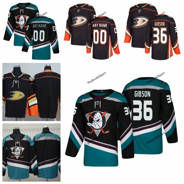 2019 John Gibson Anaheim Ducks Hockey Jerseys Customize Name Alternate Black Teal #36 John Gibson Stitched Hockey Shirts S-XXXL