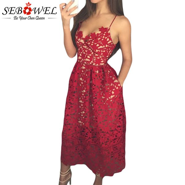 Sebowel Elegant Red Lace Spaghetti Strap Party Skater Dress Women Sexy Hollow Out Nude Illusion Backless A-line Midi Dresses J190511