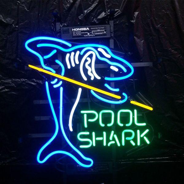 SHARK de la piscina Letrero de neón Exhibición navideña Publicidad para el hogar Decoración montada en la pared Marco de metal de vidrio de vidrio real Tamaño 17 '' 20 '' 24 '' 30 ''