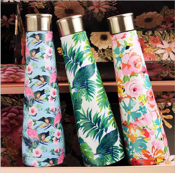 500ML Flamingo vuoto bottiglia d'acqua galassia stampato Piramide Cola a forma di bottiglie a doppia parete isolante viaggio Coke Outdoor Car Cup Joyshaker