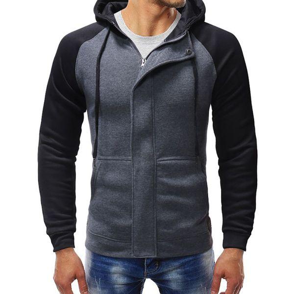 Men's Long Sleeve Slim Fit Cardigan M-3XL Zipper Hooded Sweatshirts for Men Autumn Spring Patchwork Contrast Color Hoodies