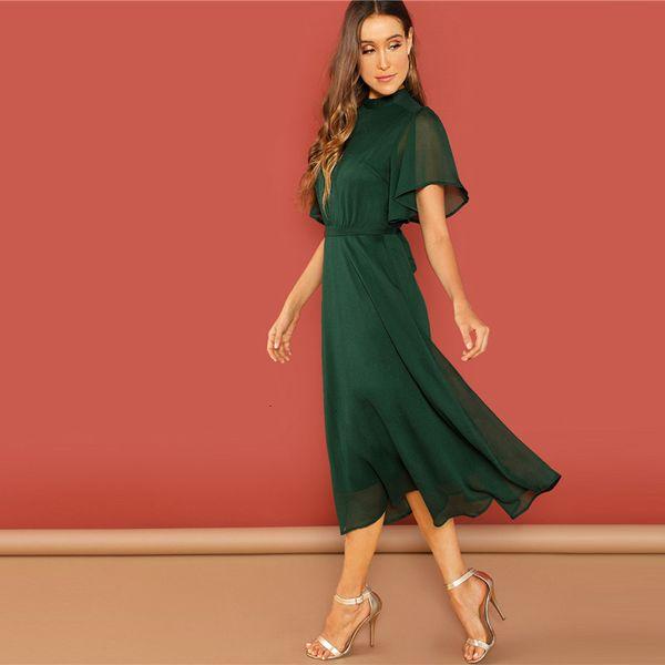 Femmes Designer Robes Robe d'été Week-end manches Casual Flutter vert à manches courtes fendu dans le dos Robe solide Femme Automne Robe solide