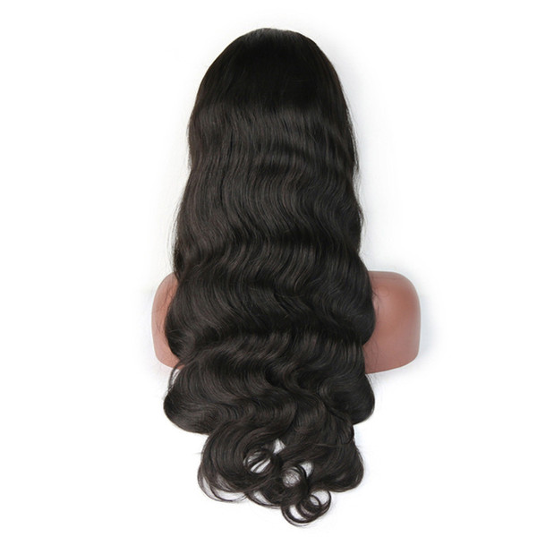 Smooth virgin baby hair for women most popular human hair unprocessed long natural color body wave full lace wig