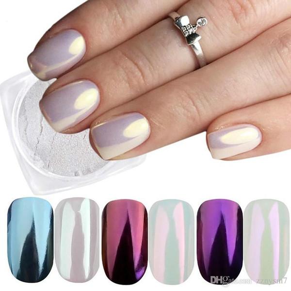 3 Caixas Espelho Em Pó Definir Nail Art Chrome Pigmento Poeira Shell DIY Glitter Manicure Azul Roxo Decoração Dicas B01 / 03/04