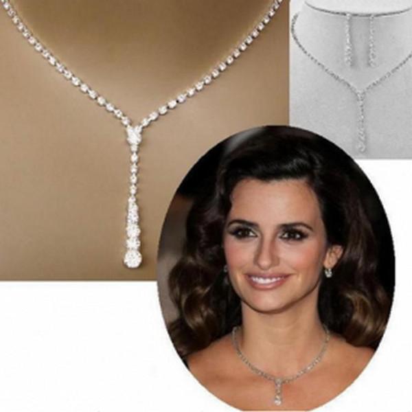 Außenhandel Boom europäischen und amerikanischen einfachen Braut Wasserbohrer Halskette Ohr Nadel Set 2 Sätze von Hochzeit Schmuck Hersteller Massenverkäufe