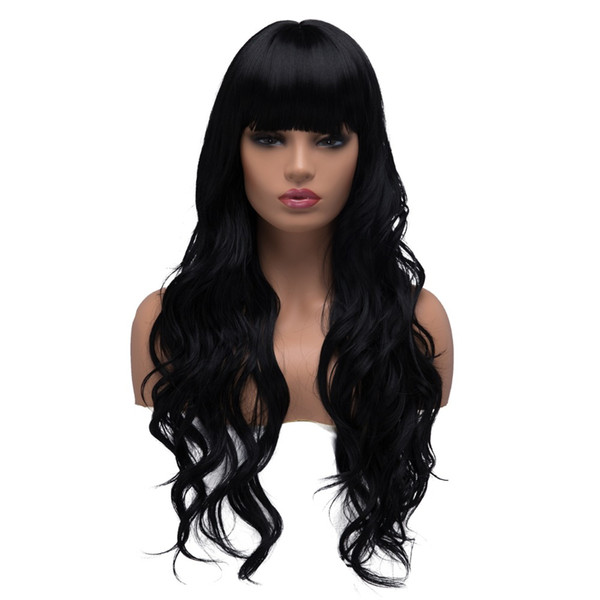 Long Curly Wavy Cosplay Wigs for Women Ladies Synthetic Full Hair Natural Black Brunette Wig with Straight Bangs