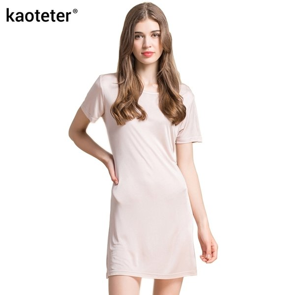 100% Pure Silk Women's Dress New Knitted Silk Female Full Long Dresses Women Summer Home Sleep Wear Woman Casual Cool Clothing Y190410